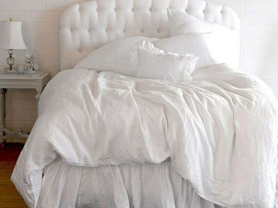 ethereal spring whites love the tufted headboard and the white on white bedding