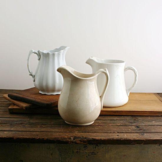 white pitchers