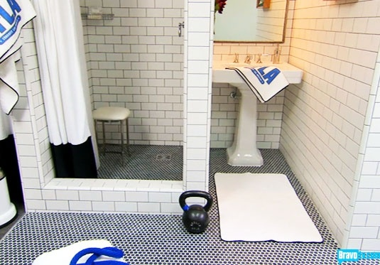 A gym bathroom designed by and worthy of Jeffrey Alan Marks