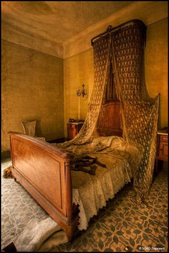 Bedroom in an abandoned castle. Where did they go?