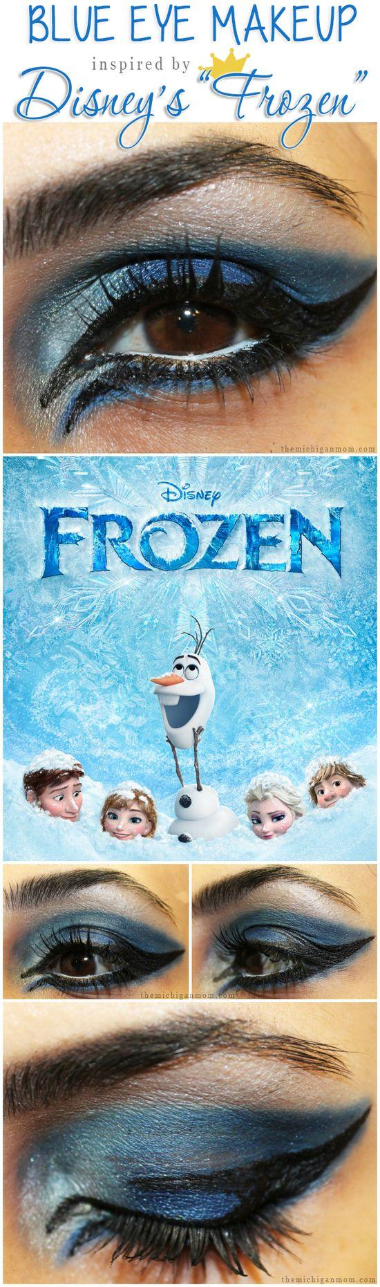 Blue Eye Makeup Inspired by Disney's Frozen- The Michigan Mom #makeup #beauty #disney #disneyfrozen