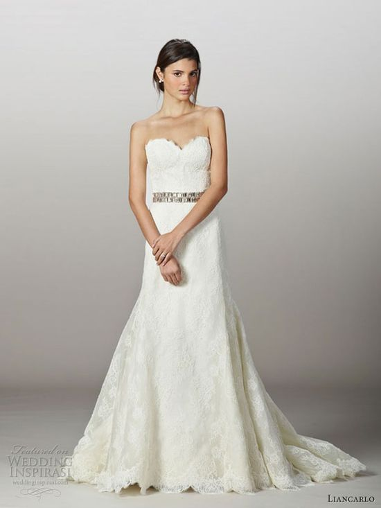 liancarlo fall 2013 wedding dress style 5831 corded chantilly lace strapless gown
