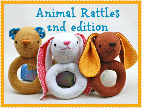 Animal Rattles 2nd Edition PDF Sewing Pattern - Easy, Quick Sew Gift for Babies via Etsy