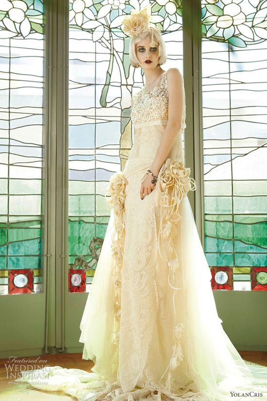 yolan cris vintage style wedding dresses 2013 le mans romantic bridal gown embellished