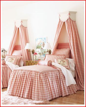 Such a terrifically pretty, elegant bedroom for little girls (or 28 year old one! :D). #bedroom #home #decor  not really a fan of the gingham but like the style