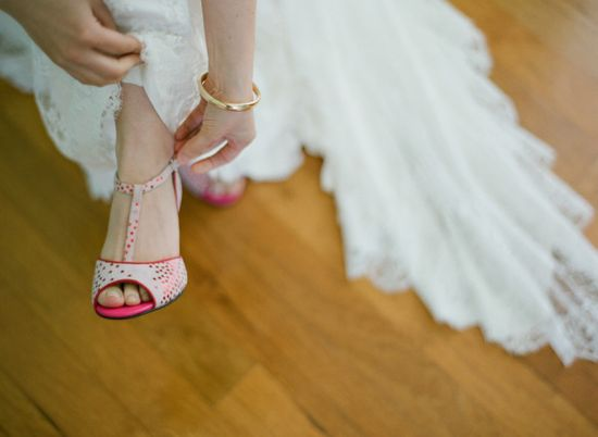 #shoes pink polka dot heels by www.annabelwinshi...,  Photography by esthersunphoto.com/  Read more - www.stylemepretty...