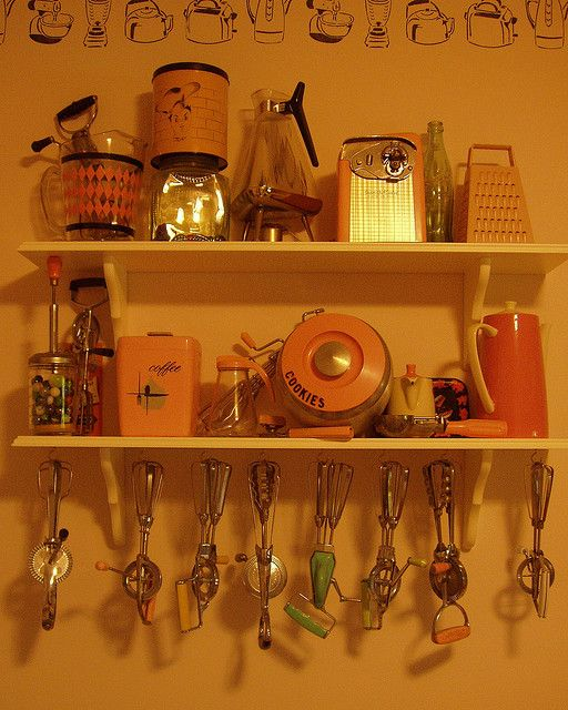 Collection of 1950s vintage kitchen equipment and utensils..