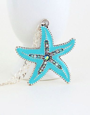 Starfish Necklace,Starfish Pendant, Sterling Silver, Silver Blue Starfish, Beach, Ocean