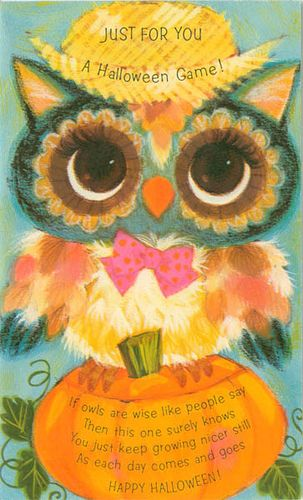 Vintage American Greeting Halloween Owl Card