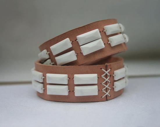 geometric leather cuff by Language Jewellery (New Jersey)