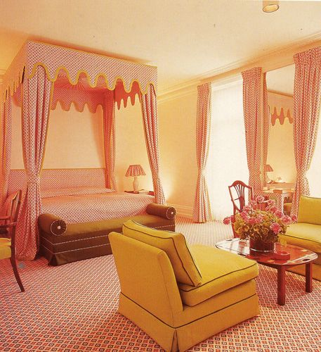 Stunning pink and orange bedroom by David Hicks. He was killin' it way before anyone else.