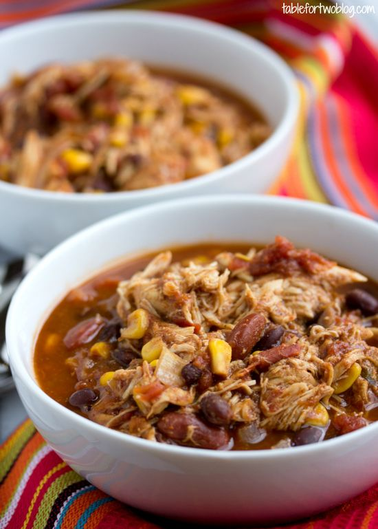 Crockpot Chicken Taco Chili from www.tablefortwobl...