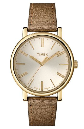 Timex® Round Leather Strap Watch available at #Nordstrom $70.00