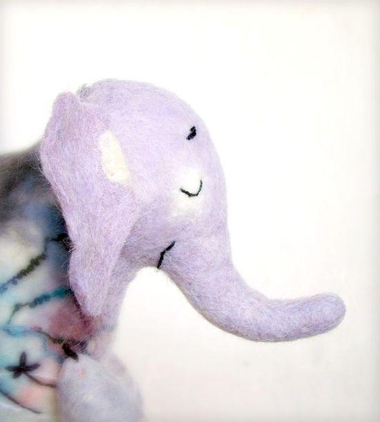 Adelina  Felt Elephant Handmade Puppet Art by TwoSadDonkeys, $56.00