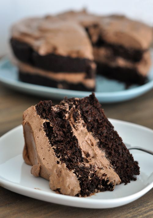 Decadent Chocolate Cake with Whipped Chocolate Frosting {Gluten-Free}