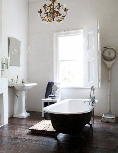 Rustic.  #home  #bathroom  #rustic chandelier in the bathroom. yes, please