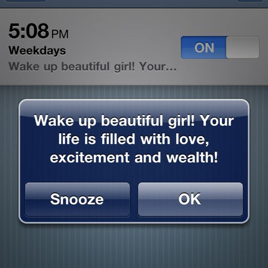 Oohh I need to make my alarm say that.  What a great way to start the day!