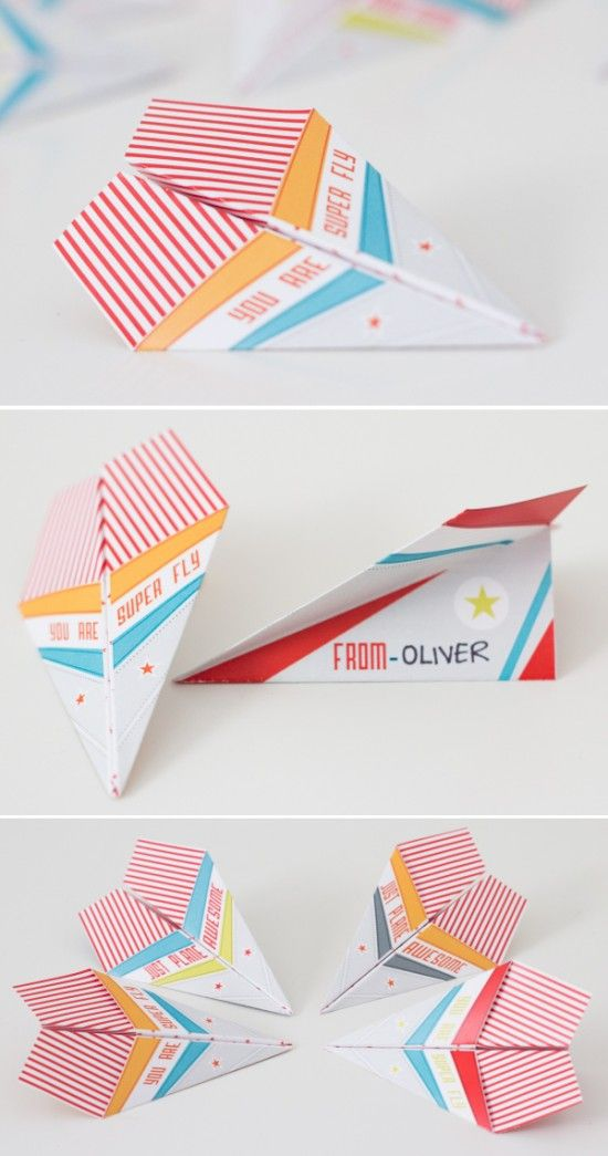 Super Fly Paper Airplanes Valentines ~ Free printable