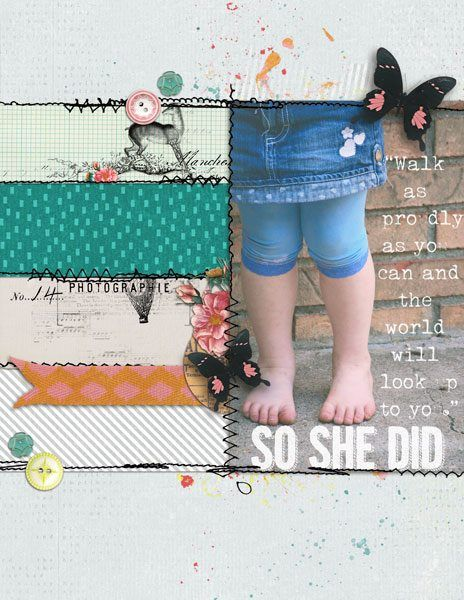 So She Did #scrapbook #layout #sewn #scraps