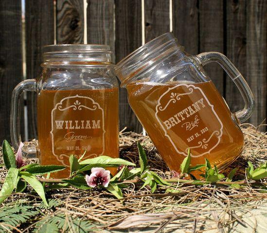 Barn Wedding Favors Personalized Mason Jar Mugs by ScissorMill, $10.00