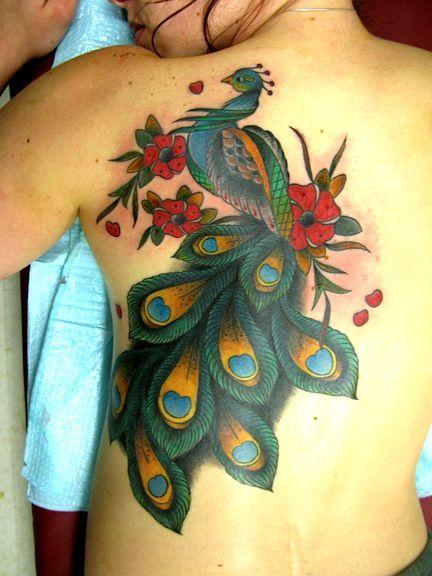 vintage peacock tattoo
