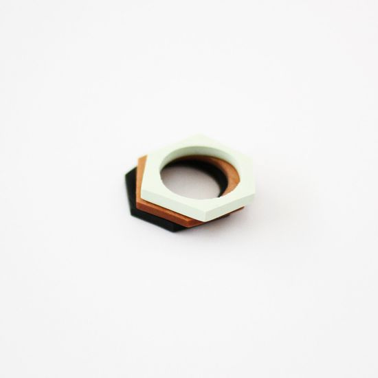 hand cut geometric stacking rings trio by AMM Jewelry