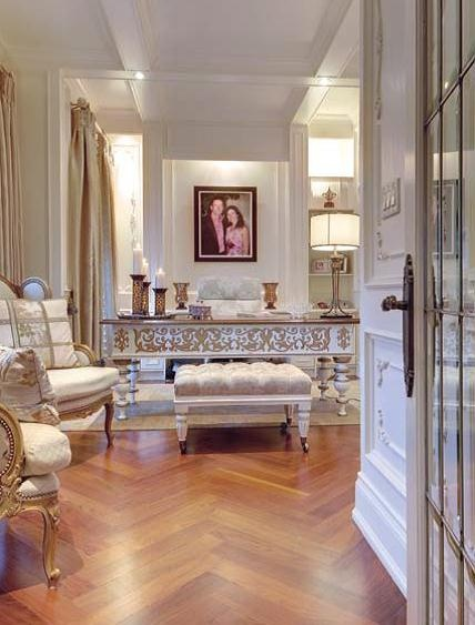 Gold and White Office with chocolate and caramel-toned floors  Interiors Design  Featured in www.ourhomesmagaz...