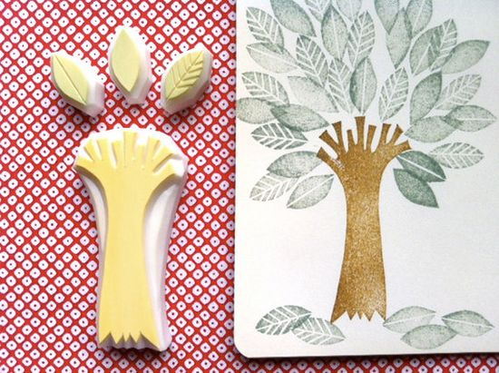 tree and leaf hand carved rubber stamp. handmade rubber stamp. set of 4.