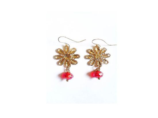 Gold Plated Flower Pendant and Red Crystal Bead Upcycle Earrings - £18.00