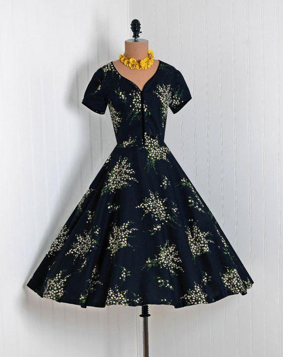 1950s Vintage floral dress