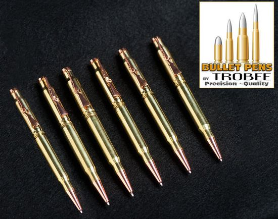 6 six custom made gifts for groomsmen  bullet pens by TrobeePens, $105.00