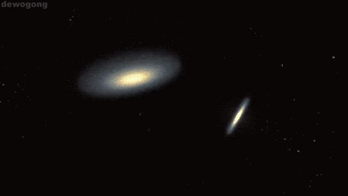 when galaxies collide. [gif. click on picture.]