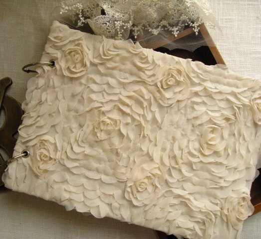 Ivory Lace Wedding Photo Album with Roses Paten Make your own memory. $24.99, via Etsy.