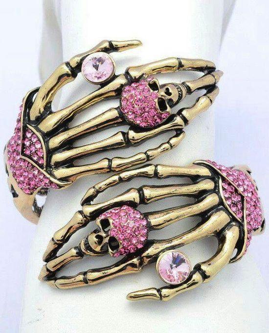 ? Vintage Style Skeleton Skull Hand Bracelet Bangle with Pink Rhinestone Crystals :¦: Ebay Shop: Seperwar ?