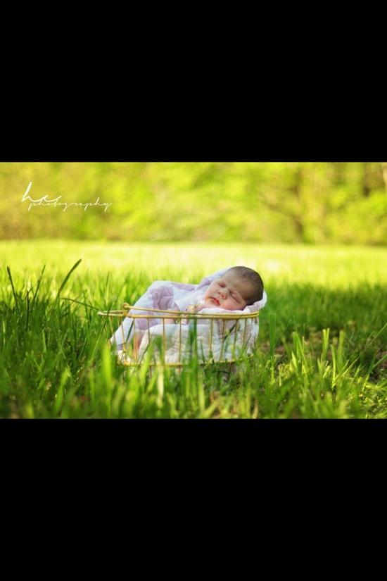 Outside newborn photography