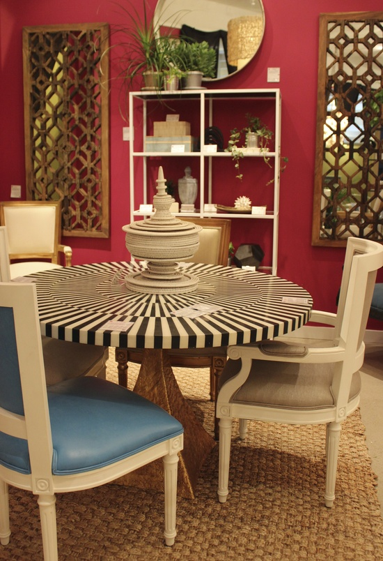 """Made Goods- IHFC Interhall 600 Noor Table Base and Striped Resin White and Black Bone Table Top 48"""" or 54"""" Round #HpMkt #stylespotters  This unexpected table will make for a very sophisticated and fun dining space!"""