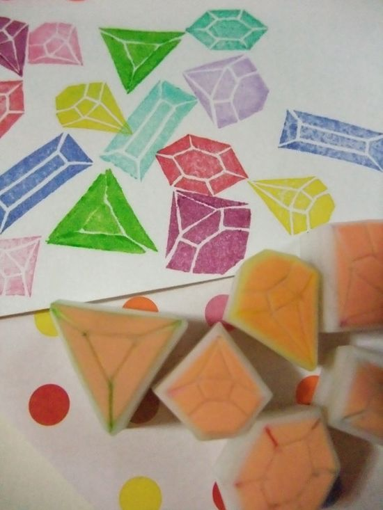 gemstones hand carved rubber stamp - handmade rubber stamp - diamonds/ruby/candy diamonds/jewels - set of 6. $10.00, via Etsy.