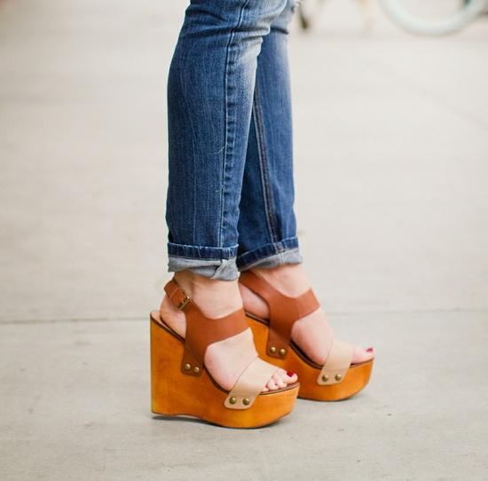 hippie style platform sandals.