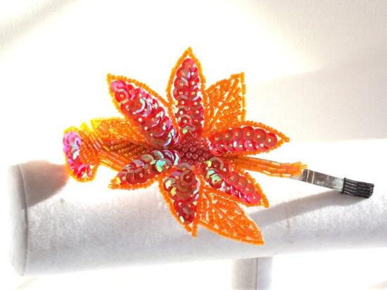 Orange Pink Sequin Headband     Handmade by SophiesHatsandMore, $15.00