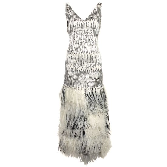 1960's Galanos Beaded Gown with Feather Fringe