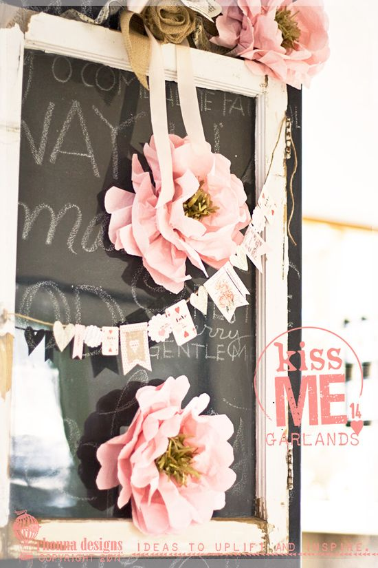 Framed chalkboards with flowers and love banners