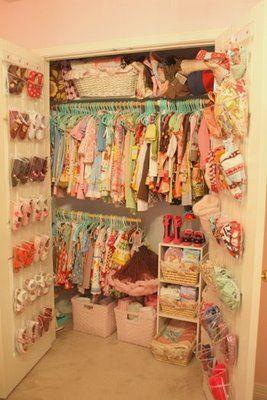 Closet organization by little pumpkin grace: a sweet vintage inspired little girl's room.