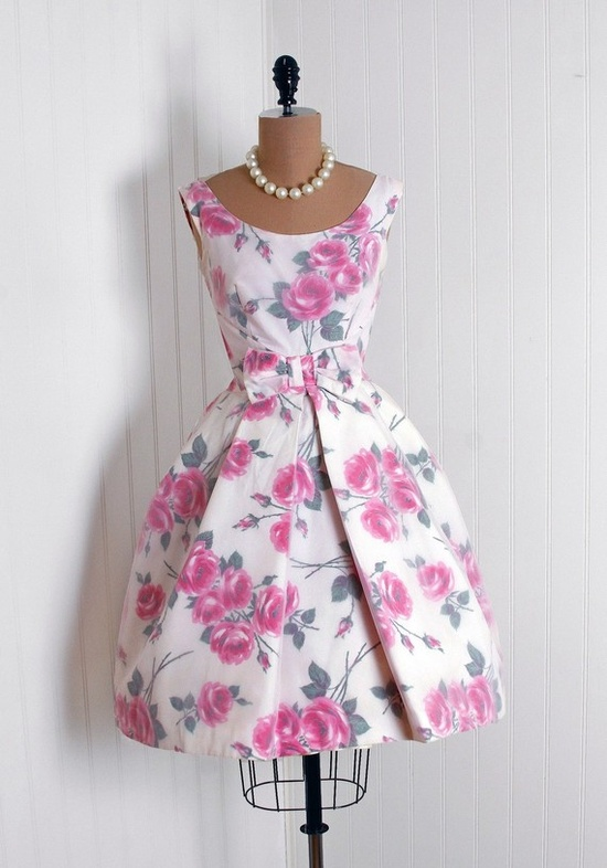 Party Dress: 1950's, watercolor floral print taffeta, sheer chiffon overlay.