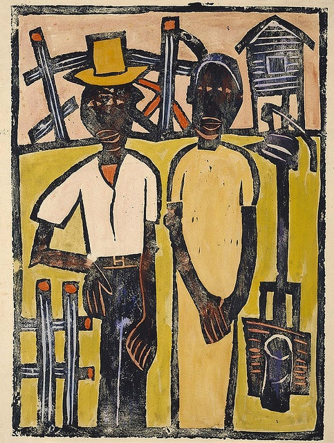 Farm Couple at Well    Artist: William H. Johnson, born Florence, SC 1901-died Central Islip, NY 1970    Type: Graphic Arts-Print    Date: ca. 1940-1941