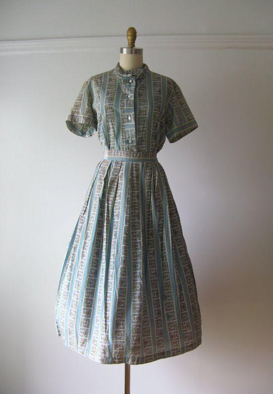 vintage 1950s silk two piece dress