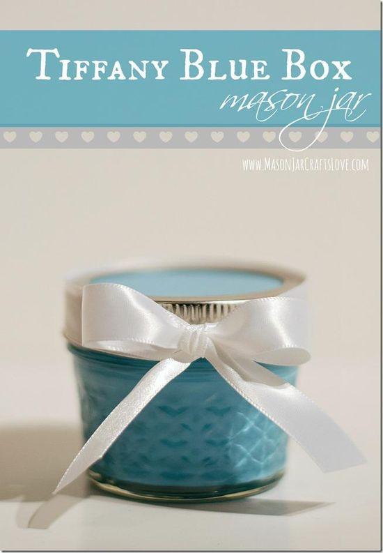 Tiffany Box Mason Jar Gift Wrapping Idea