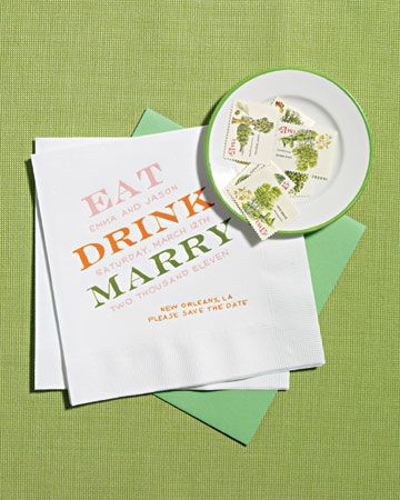 """Eat, drink, and be marry"" napkins for a laid-back cocktail hour. #MarthaStewartWeddingsMagazine"