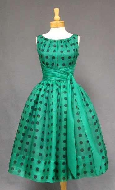 1950s Emerald Polka Dot