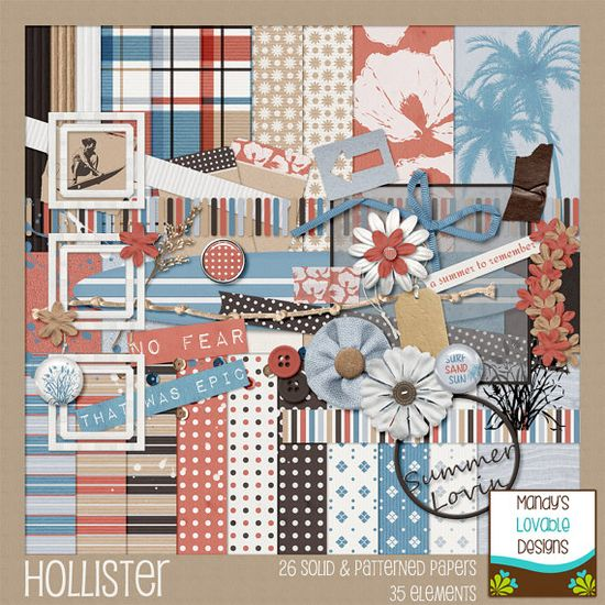Hollister Clothing - Summer Vacation Surf - Scrapbook Kit - by MandysLovableDesigns