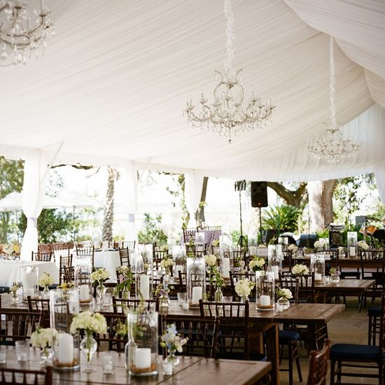 Love the Dark Wood In This Tented Reception